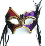 Petite purple & deep red Velour mask with headband or ribbons
